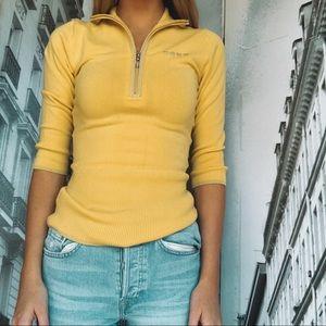 bebe Jackets & Coats - Bebe Yellow Half Zip Jacket